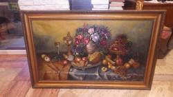 Nagyméretű asztali gyümölcscsendélet olaj vászon festmény keretezve