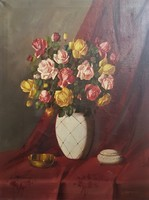 Murin Vilmos / Rózsacsokor porcelán vázában