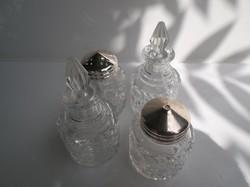 Üveg 4 db  - NAGY - EZÜSTÖZÖTT - só - bors - szóró - olaj - ecet tartó - műanyag dugóval -