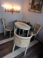 Francia régi szett. Szék, fotel, asztal. Garnitúra.