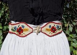 Antik népi népművészeti népviseleti kézzel hímzett egyedi női bőröv öv 38-as 40-es méret