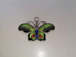 Ezüst, régi, filigrán tűzzománcos gyönyörű lepke, pillangó