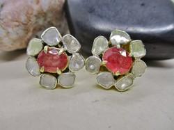 Csodás aranyozott ezüst fülbevaló valódi ca.1-1,5ct gyémánttal, rubinokkal