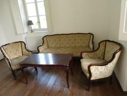 Antik kárpitozott ülőgarnitúra asztallal