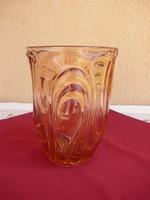 Lazac színű hatalmas üveg  váza, vagy pezsgő tartó, 27 cm magas, 3,1 kg.