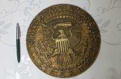 Réz plakett eladó-nagyméretű- United States America 24 cm átmérő!