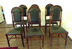 6db Antik bőrkárpitos Art Deco rugóg szék