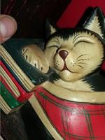 Régi festett faragott fa könyveken alvó macska cica könyvtámasz figura gyönyörű állapotban