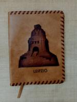 Régi kézimunkával készített bőr könyvborító füzetborító