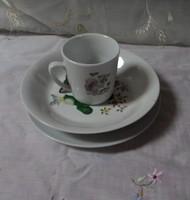 Kahla porcelán szett, gyerek bögre és tányér: cica, elefánt, maci (NDK)