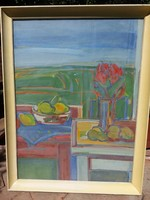 Kristóf Kornélia : Csendélet ( 80x60 cm , olaj , farost ) Képcsarnokos.