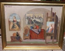 Piri Kálmán : Interieur ( 60x80 cm , olaj , farost ) Képcsarnokos.