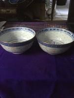 Két gyönyörű kínai rizses tálka