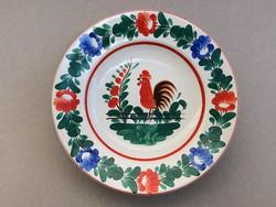 Gránit kakas mintás tányér régi jelzett fajansz dísztányér