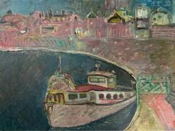 Tóth Vissó Árpád (1921-2001): Táj hajóval. Képcsarnokos