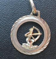 EZÜST-Régi NYILAS-horoszkóp medál-835-ös  finomságjellel-