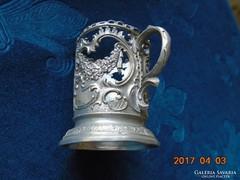D.R.G.M.158585 Német 1910 előtti Birodalmi védjeggyel girlandos ón pohártartó