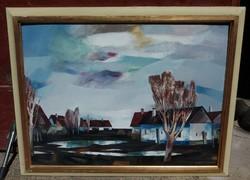 Berta Sándor : Házak ( 60x80 cm , olaj , farost ) Képcsarnokos -
