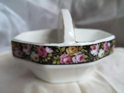 Antik,biedermeier rózsás porcelán asztali só-bors tartó