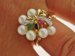 Gyémántokkal-Smaragd-Rubin-Zafír Akoya 14 kr.arany gyűrű 60-as méret
