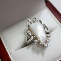 Gyöngy cirkónia kövekkel ezüst gyűrű.ÚJ!