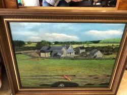 Angol festmény, vadászjelenet, olaj, vászon, 50 x 75 cm.