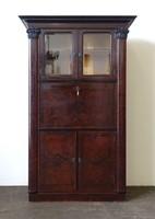 1B664 Gyönyörű jelzett kígyófejes antik rózsagyökér furnéros Lingel Károly írószekreter 190 cm