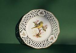 Madaras Bavaria Arabella Atelier német csipkézett porcelán dísztányér falitányér sárga pintyőke
