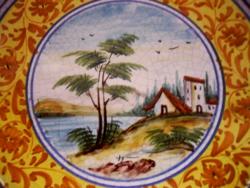 Látképes kézzel festett DARUTA olasz falitányér