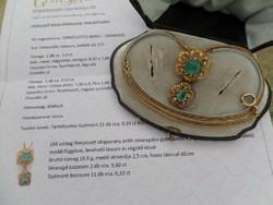 Antik smaragdos - gyémántos arany nyakék CERTIFIKÁTTAL!