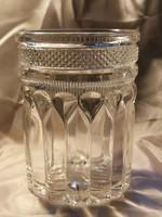 Antik,szecessziós, vastag falú, préselt üveg ivópohár