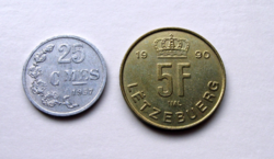 Luxemburg - 2 db-os Lot - 25 centime, 1957 & 5 Frank, 1990