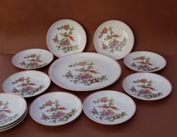 12 darabos Hollóházi paradicsommadaras tányérkészlet süteményes szendvicses vagy falitányér szett