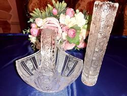 Kristály kosár és váza
