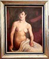 Ferenczy Károly (1862-1917)- Női Akt lepellel 110x90cm