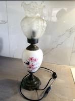 Porcelán testű asztali lámpa eredeti üvegbúrával