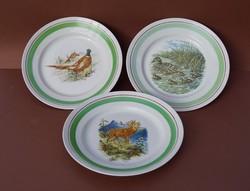 Ritka Hollóházi porcelán falitányér dísztányér szett 3 db vadvilág sorozat egyben átm. 24 cm!