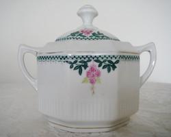 Régi porcelán cukortartó szögletes virágos fedeles