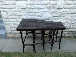 Thonet, garnitúra, lerakó asztal egymásba tolható, 4db komplett, zsúrasztal, kiegészítő kínáló szett