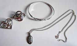 Art deko ezüst ékszer szett lánc függővel karkötő kítűzők