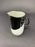 Kisméretű  Hollóházi fekete-fehér porcelán tejszín kiöntő türkiz pöttyökkel, aranyozással