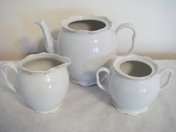 Régi porcelán vintage fehér teás kiöntő teáskanna cukortartó  3 db