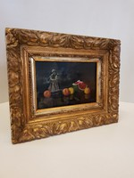 Eredeti, jelzett Molnár Z. János gyümölcs csendélet porcelánnal olaj fa festmény