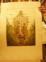 Ábrahám Rafael szignóval grafika