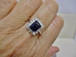 Gyönyörű valódi zafírköves ezüst gyűrű