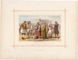 Görögök, litográfia 1882, eredeti, görög faj, hellének, pelaszgok, népfaj, Görögország, Kréta, Hydra