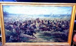 Látványos, nagyméretű csatajelenet, kerettel együtt 80x130cm,