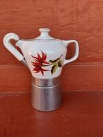 Hollóházi virágos  Seherezádé , kotyogós porcelán kávéfőző, nosztalgia darab, paraszti dekoráció