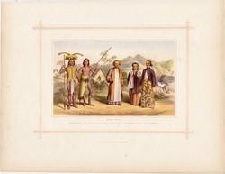 Malájok, litográfia 1882, eredeti, maláj faj, népfaj, Jáva, Borneó, pap, bennszülött, őslakos, nő