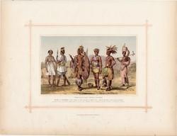 Szerecsenek, kafferek, litográfia 1882, eredeti, etióp faj, népfaj, Afrika, néger, Szenegambia, zulu